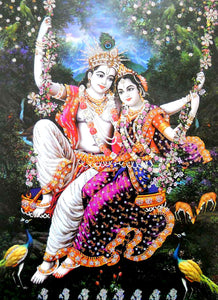 "Divine Lovers Radha Krishna on Swing/Large Hindu God Poster with Glitter Effect -Reprint on Paper (Unframed : Size 20""x28"" Inches)"