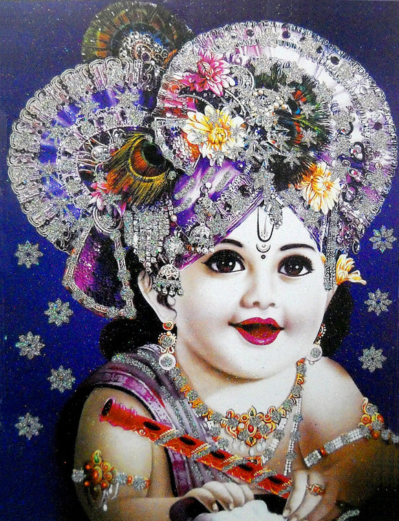 Lord Krishna/Large Hindu God Poster with Glitter Effect -Reprint on Paper (Unframed : Size 20