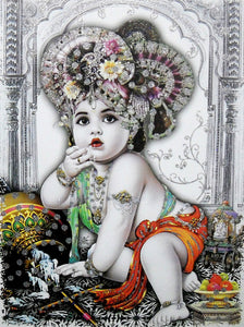 "Makhan Chor Krishna/ Large Hindu God Poster with Glitter Effect -reprint on paper (Unframed : Size 20""x28"" Inches)"