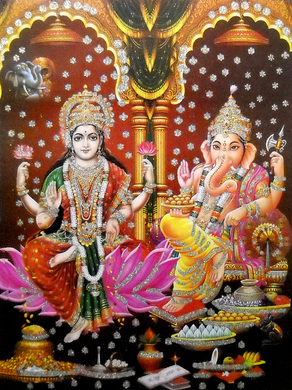 Laxmi,Ganesha/ Large Hindu Goddess Poster with Glitter Effect -reprint on paper (Unframed : Size 20