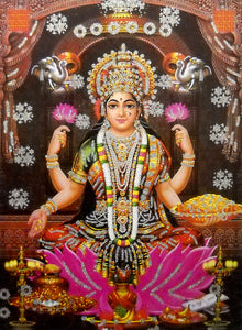 "Goddess Laxmi/ Large Hindu Goddess Poster with Glitter Effect -reprint on paper (Unframed : Size 20""x28"" Inches)"