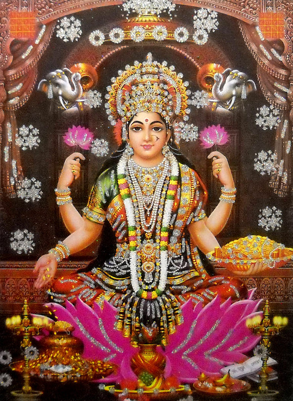 Goddess Laxmi/ Large Hindu Goddess Poster with Glitter Effect -reprint on paper (Unframed : Size 20