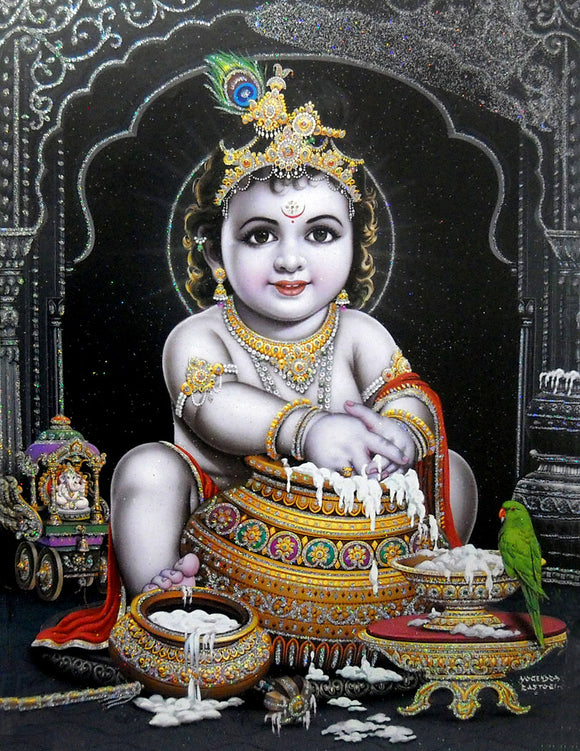 Makhan Chor Krishna/ Large Hindu God Poster with Glitter Effect -reprint on paper (Unframed : Size 20