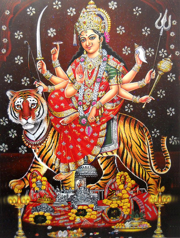 Goddess Durga/ Large Hindu Goddess Poster with Glitter Effect -reprint on paper (Unframed : Size 20