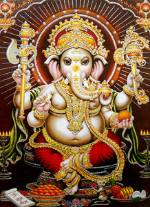 "Lord Ganesha/ Large Hindu God Poster with Glitter Effect -reprint on paper (Unframed : Size 20""x28"" Inches)"