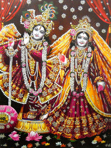 "Vrindavan Radha Krishna/ Large Hindu God Poster with Glitter Effect -reprint on paper (Unframed : Size 20""x28"" Inches)"