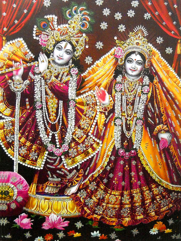 Vrindavan Radha Krishna/ Large Hindu God Poster with Glitter Effect -reprint on paper (Unframed : Size 20