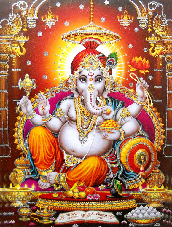 Blessing Ganesha/Large Hindu God Poster with Glitter Effect -Reprint on Paper (Unframed : Size 20