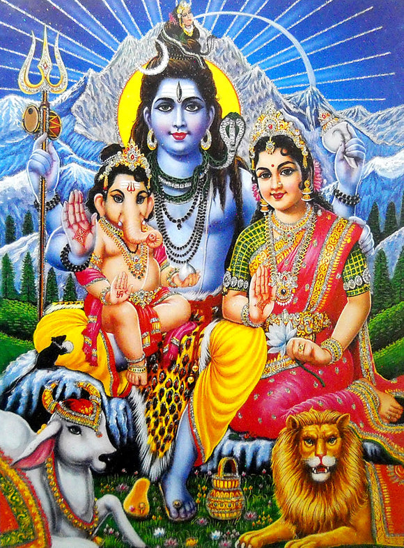 Lord Shiva Family/Large Hindu God Poster with Glitter Effect -Reprint on Paper (Unframed : Size 20