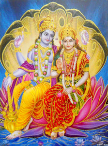 "Divine Couple Lakshmi Narayan/ Large Hindu God Poster with Glitter Effect -reprint on paper (Unframed : Size 20""x28"" Inches)"