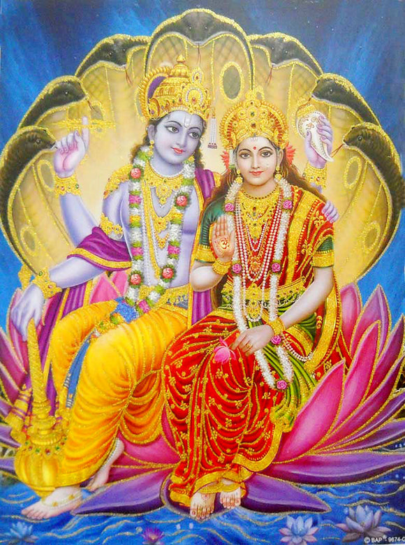Divine Couple Lakshmi Narayan/ Large Hindu God Poster with Glitter Effect -reprint on paper (Unframed : Size 20