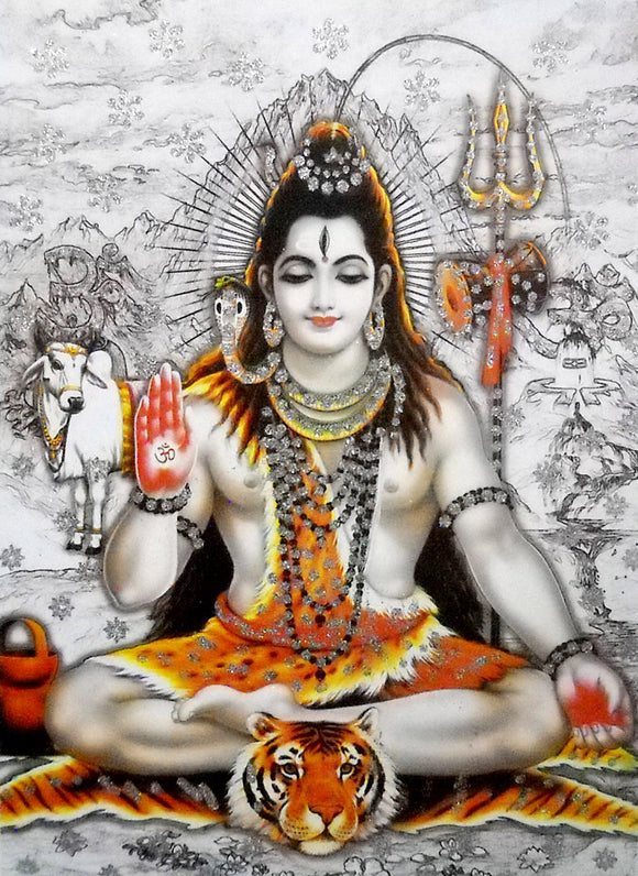 Blessing Shiva/ Large Hindu God Poster with Glitter Effect -reprint on paper (Unframed : Size 20