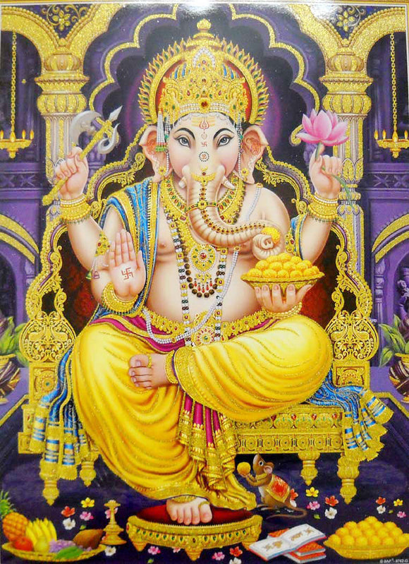 Blessing Lord Ganesha/Large Hindu God Poster with Glitter Effect -Reprint on Paper (Unframed : Size 20