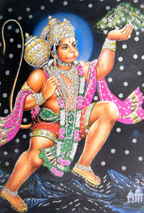 "Lord Hanuman carrying Sanjivini Mountain/ Big Hindu God Poster with Glitter Effect -reprint on paper (Unframed : Size 25""x35"" Inches)"