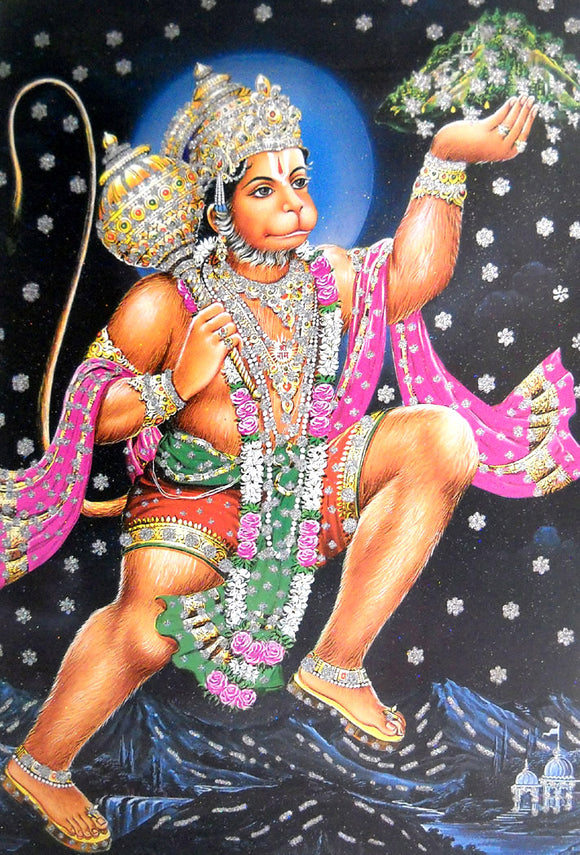 Lord Hanuman carrying Sanjivini Mountain/ Big Hindu God Poster with Glitter Effect -reprint on paper (Unframed : Size 25