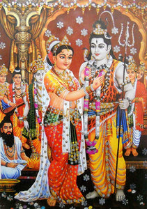"Lord Shiva Marriage with Parvati/ Big Hindu God Poster with Glitter Effect -reprint on paper (Unframed : Size 25""x35"" Inches)"