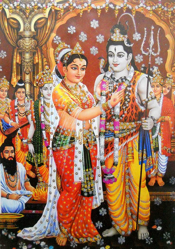 Lord Shiva Marriage with Parvati/ Big Hindu God Poster with Glitter Effect -reprint on paper (Unframed : Size 25