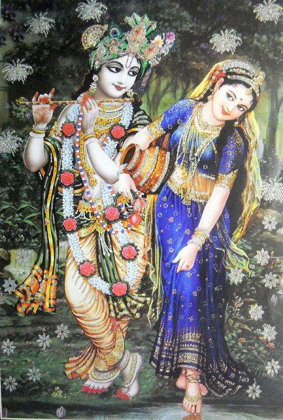Divine Lovers Radha Krishna large Hindu God Poster with Glitter Effect -reprint on paper (Unframed : Size 25