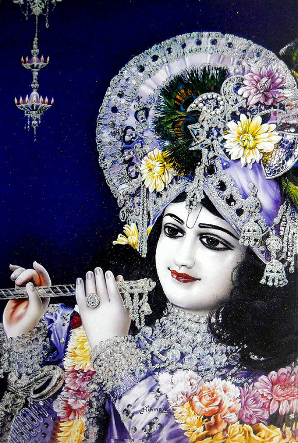 Lord Krishna/ Large Hindu God Poster with Glitter Effect -reprint on paper (Unframed : Size 25