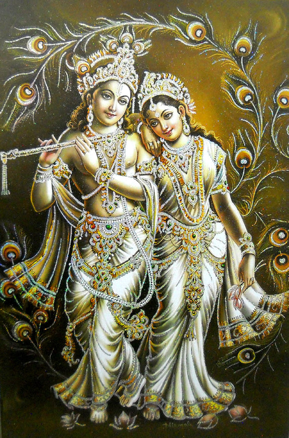 Divine Lovers: Radha Krishna/ Large Hindu God Poster with Glitter Effect -reprint on paper (Unframed : Size 25