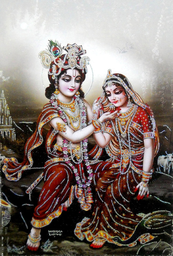 Divine Lovers: Radha Krishna/Large Hindu God Poster with Glitter Effect -Reprint on Paper (Unframed : Size 25