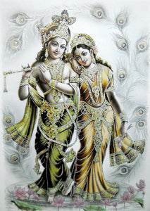 "Divine Lovers: Radha Krishna/ Large Hindu God Poster with Glitter Effect -reprint on paper (Unframed : Size 25""x35"" Inches)"