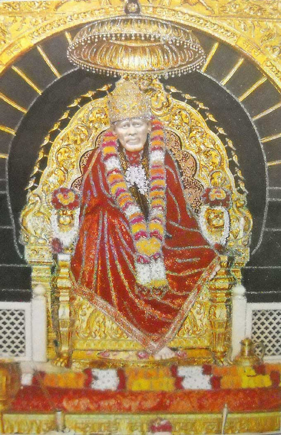 Shirdi Sai Baba/ Large Hindu God Poster with Glitter Effect -reprint on paper (Unframed : Size 25
