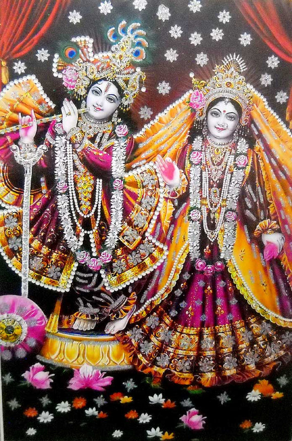 Vrindavan Radha Krishna Big Hindu God Poster with Glitter Effect -reprint on paper (Unframed : Size 25
