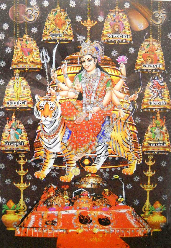 India Crafts Nine Devi's,Goddess Durga on Her Vehicle Tiger/Large Hindu God Poster with Glitter Effect - (Unframed : Size