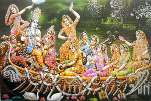 "Radha Krishna with Gopis on Boat large Hindu God Poster with Glitter Effect -reprint on paper (Unframed : Size 25""x35"""