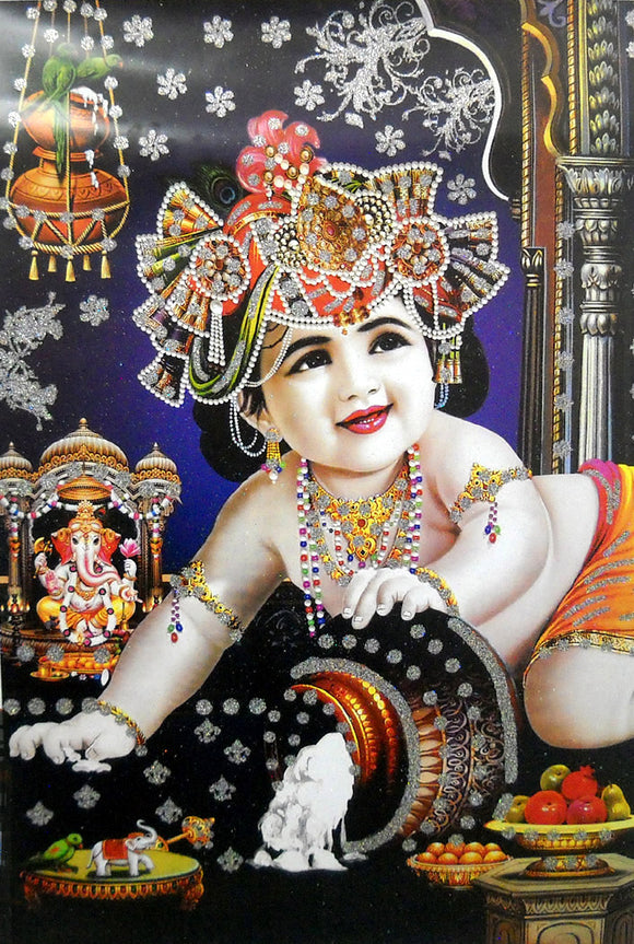 Makhan Chor Krishna/ Large Hindu God Poster with Glitter Effect -reprint on paper (Unframed : Size 25
