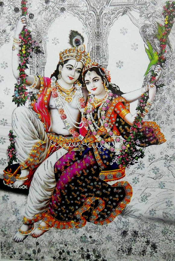 Radha Krishna on Swing Big Hindu God Poster with Glitter Effect -reprint on paper (Unframed : Size 25