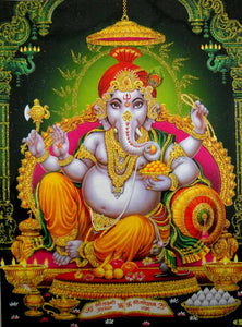 "Elephant God Ganesha/Ganapati/Hindu God Poster with Glitter-Reprint on Paper (Unframed : Size 12""X16"" Inches)"
