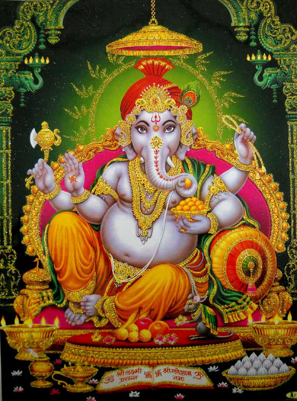 Elephant God Ganesha/Ganapati/Hindu God Poster with Glitter-Reprint on Paper (Unframed : Size 12