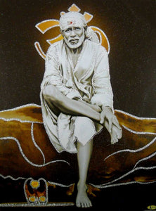 "Shirdi Sai Baba/ Hindu God Poster with Glitter-reprint on paper (Unframed : Size 12""X16"" Inches)"