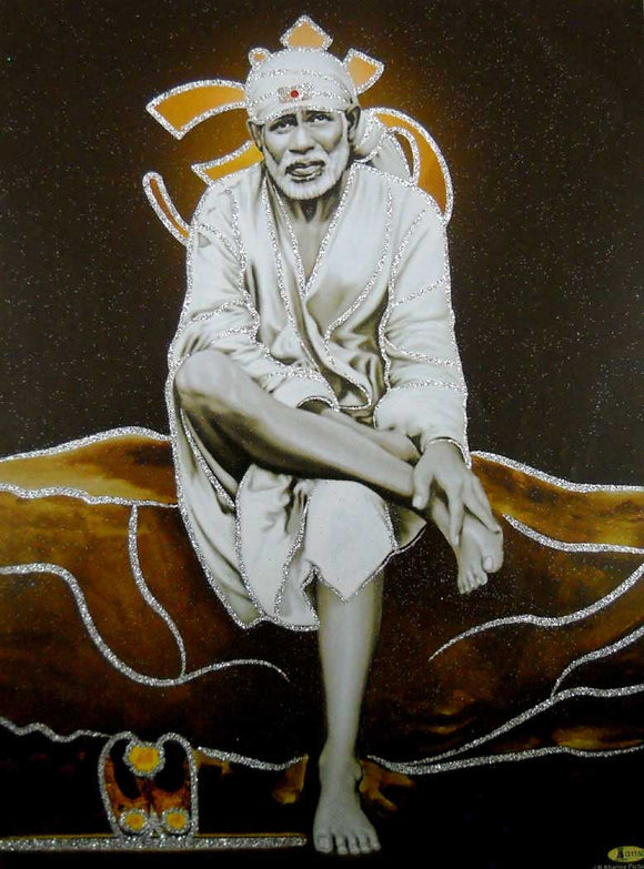 Shirdi Sai Baba/ Hindu God Poster with Glitter-reprint on paper (Unframed : Size 12