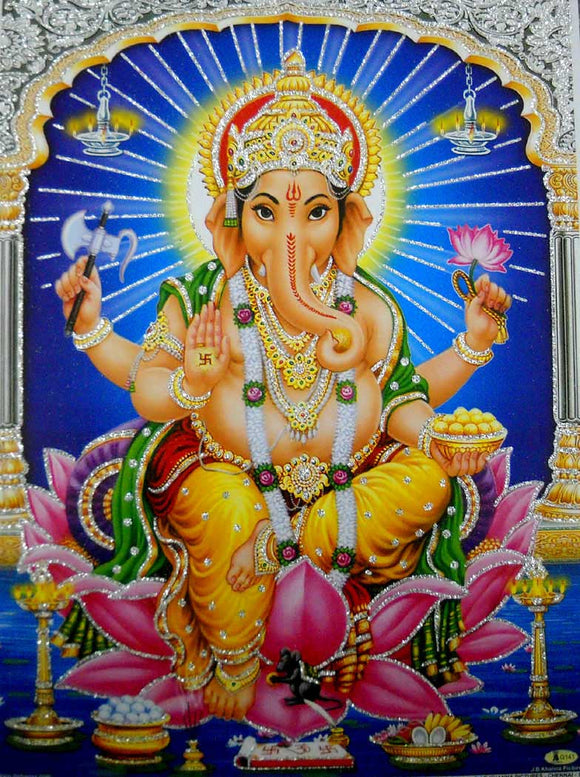 Divine Lord Ganesha/Hindu God Poster with Glitter-Reprint on Paper (Unframed : Size 12