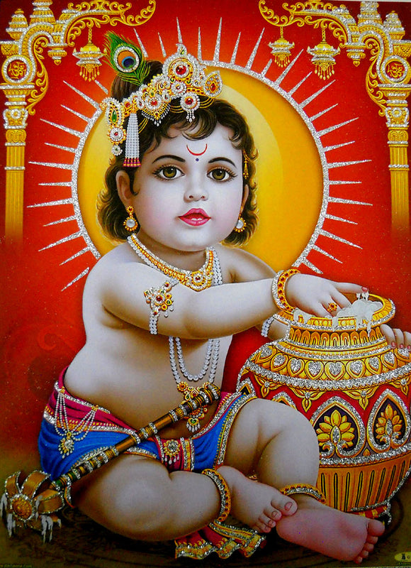 Makhan Chor/Butter Thief Bal Krishna/Hindu God Poster with Glitter-Reprint on Paper (Unframed : Size 12