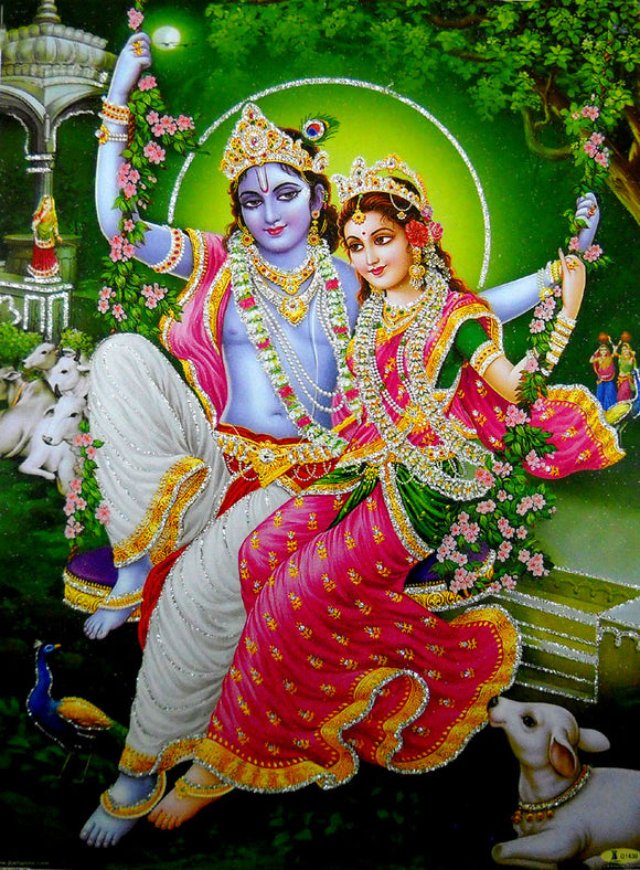 Radha Krishna on Swing/Hindu God Poster with Glitter-Reprint on Paper (Unframed : Size 12