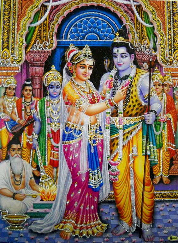 Shiva Parvati Marriage/Swayamvar/Hindu God Poster with Glitter-Reprint on Paper (Unframed : Size 12