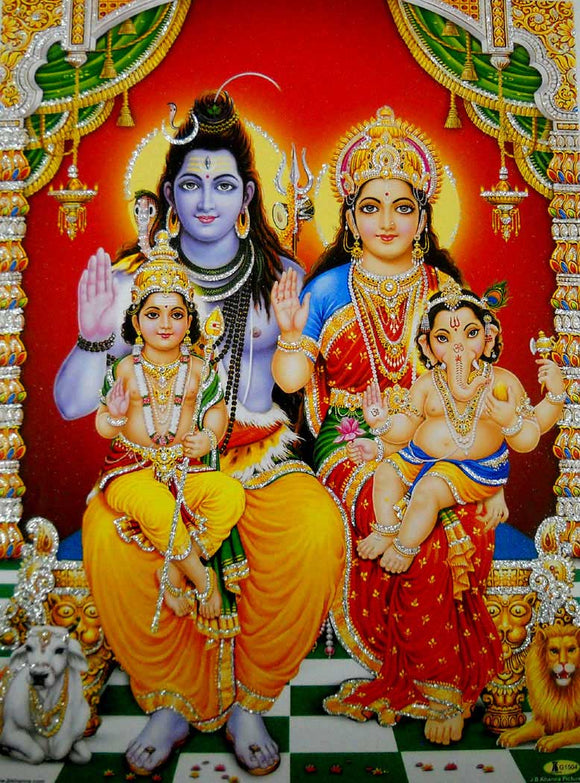Lord Shiva Family/ Hindu God Poster with Glitter-reprint on paper (Unframed : Size 12