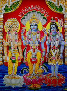 "The Trio : Brahma Vishnu Mahesh/ Hindu God Poster with Glitter-reprint on paper (Unframed : Size 12""X16"" Inches)"