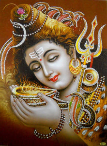 "Lord Shiva Drinking Poison During Samudra Manthan/Hindu God Poster with Glitter-Reprint on Paper (Unframed : Size 12""X16"" Inches)"
