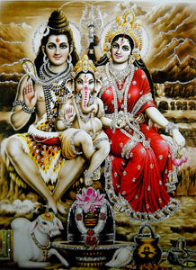 "Lord Shiva Family/Hindu God Poster with Glitter-Reprint on Paper (Unframed : Size 12""X16"" Inches)"