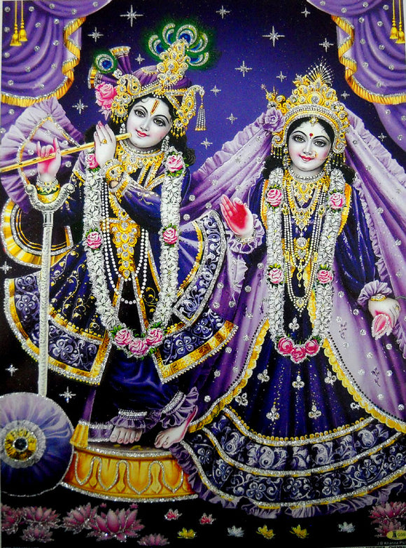 Radha Krishna/ Hindu God Poster with Glitter-reprint on paper (Unframed : Size 12