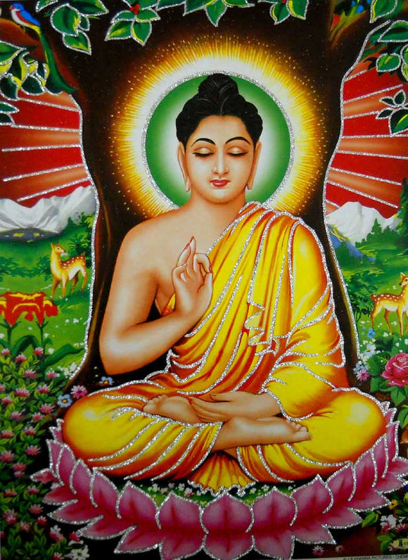 Blessing Lord Buddha/ Hindu God Poster with Glitter-reprint on paper (Unframed : Size 12
