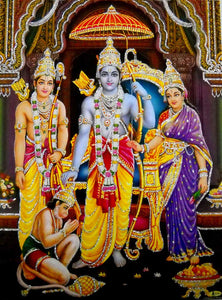 "Ram Darbar/ Hindu God Poster with Glitter-reprint on paper (Unframed : Size 12""X16"" Inches)"