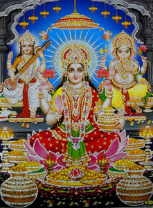 "Auspicious Lakshmi Ganesha Saraswati/Hindu God Poster with Glitter-Reprint on Paper (Unframed : Size 12""X16"" Inches)"