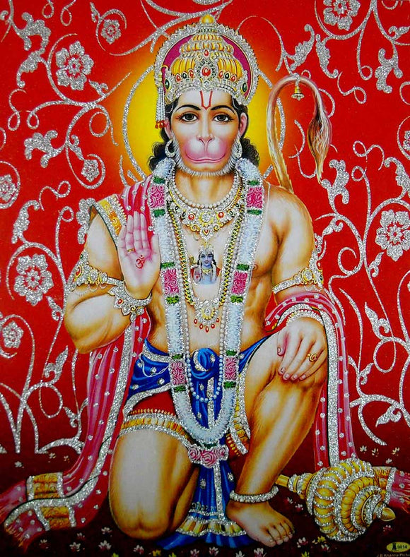 Blessing Lord Hanuman/Hindu God Poster with Glitter-Reprint on Paper (Unframed : Size 12