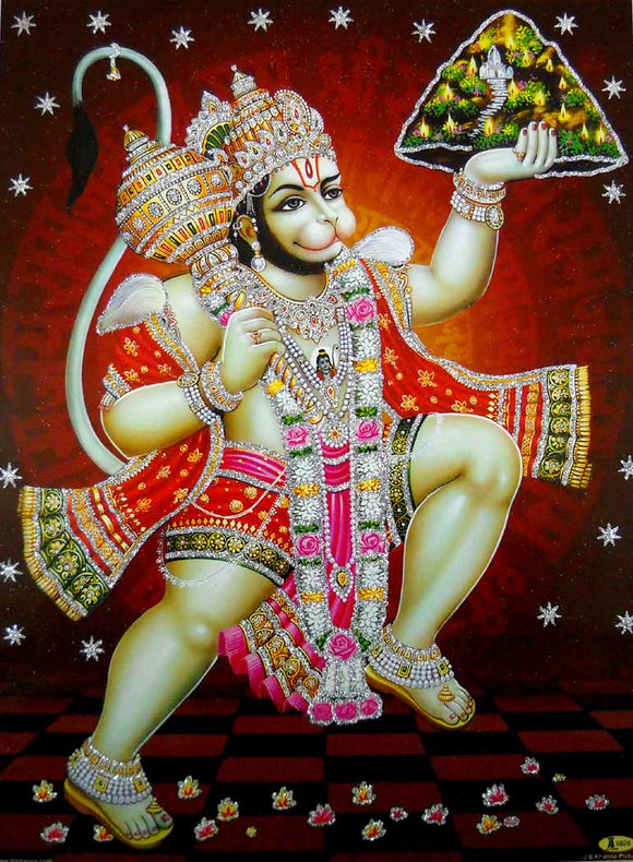Flying Lord Hanuman Carrying Sanjivani Mountain/Hindu God Poster with Glitter-Reprint on Paper (Unframed : Size 12